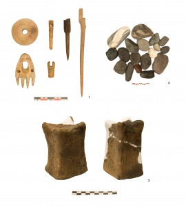 Objects from the East Citadel Shrine: a) bone tools, b) river cobbles, c) clay idols.
