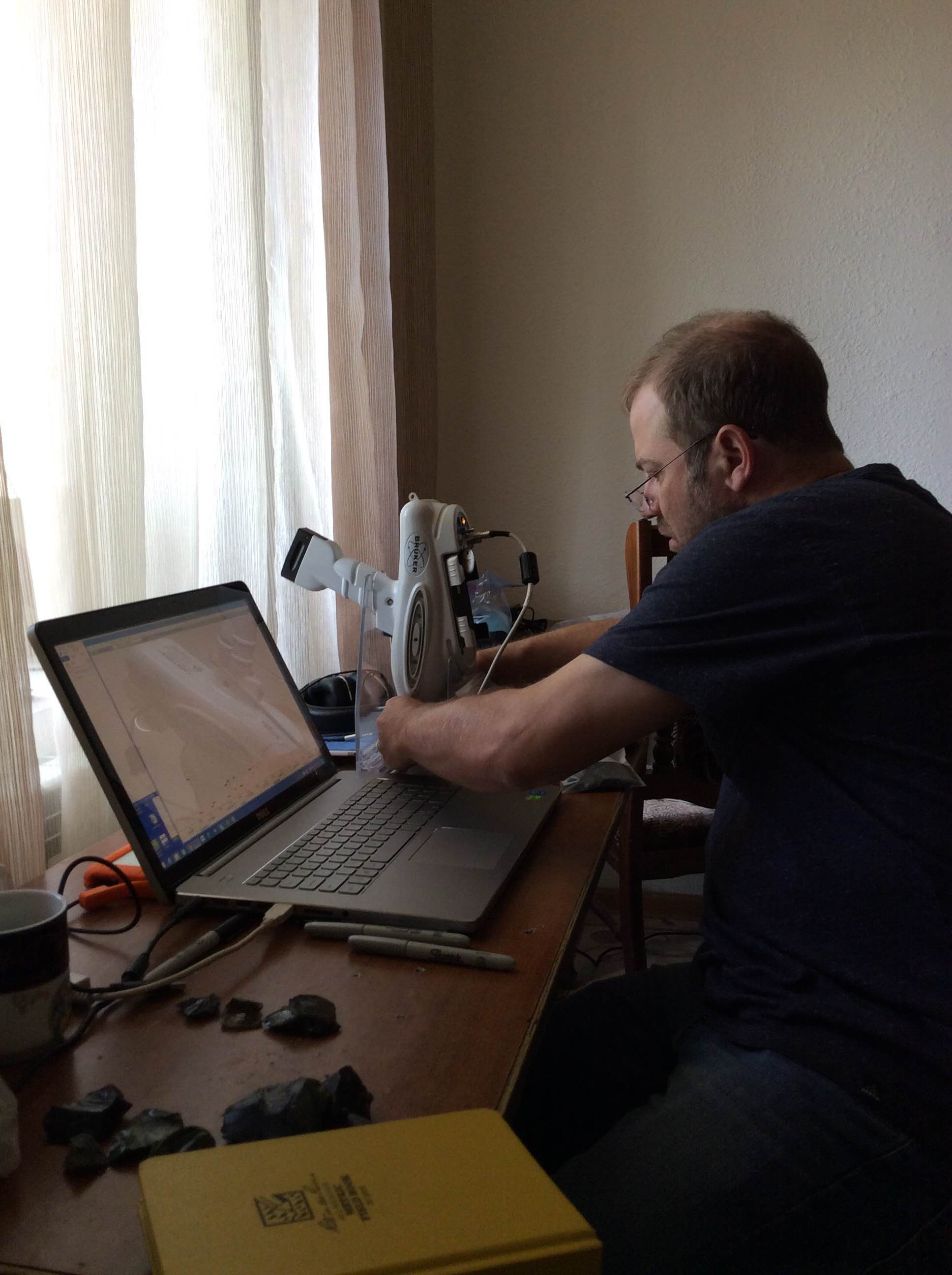 Adam T Smith working with the ArAGATS pXRF, 2016.